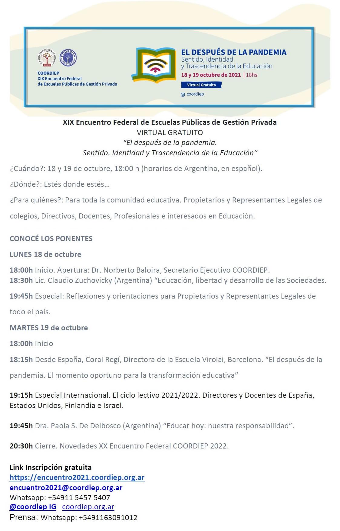 COORDIEP 2021 - Programa del XIX Encuentro Federal